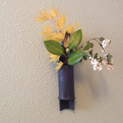 Seasonal Flowers in a ceramic bamboo vase